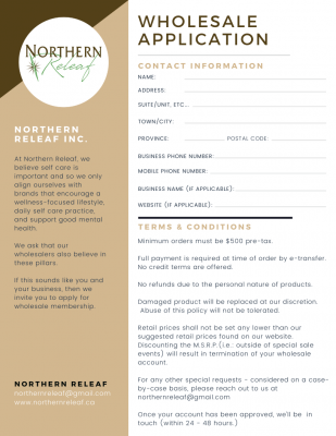 Wholesale Account Application for Northern Releaf